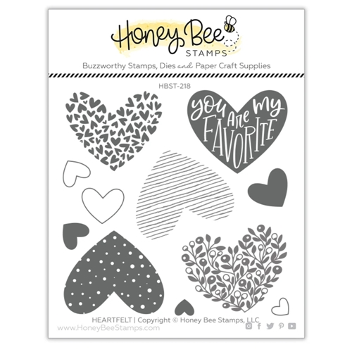 Honey Bee HEARTFELT Clear Stamp Set hbst-218 Preview Image