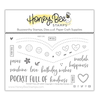Honey Bee POCKET FULL OF LOVE Clear Stamp Set hbst-216
