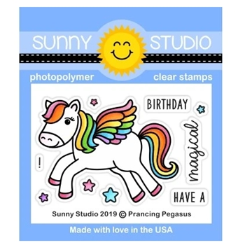 Sunny Studio PRANCING PEGASUS Clear Stamps SSCL-237