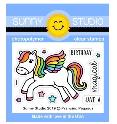 Sunny Studio PRANCING PEGASUS Clear Stamps SSCL-237 zoom image