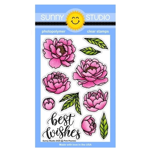 Sunny Studio PINK PEONIES Clear Stamps SSCL-256 Preview Image