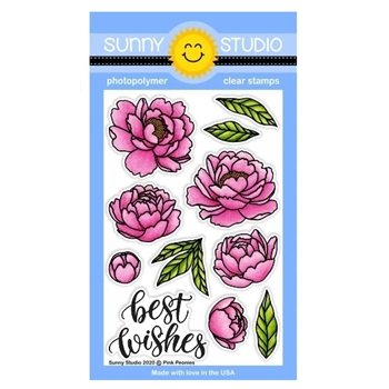 Sunny Studio PINK PEONIES Clear Stamps SSCL-256