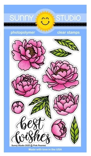 Sunny Studio PINK PEONIES Clear Stamps SSCL-256 zoom image