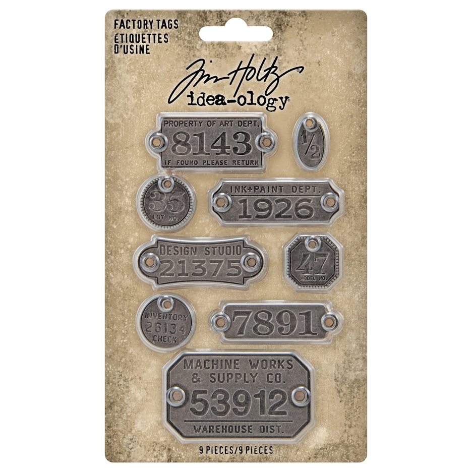 Tim Holtz Idea-ology FACTORY TAGS Embellishments th94039 zoom image