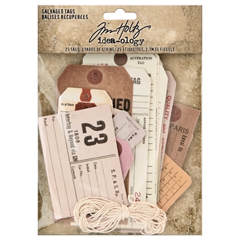 RESERVE Tim Holtz Idea-ology SALVAGED TAGS Embellishments th94048