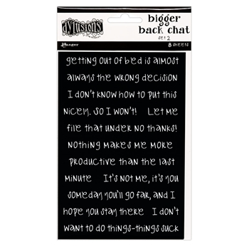 Ranger Dylusions BLACK BIGGER BACK CHAT STICKERS 2 Dyan Reaveley dya68792