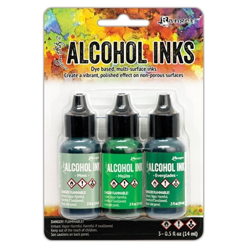 RESERVE Tim Holtz Alcohol Ink Set MINT AND GREEN SPECTRUM 3 Pack Ranger tak69652