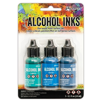 RESERVE Tim Holtz Alcohol Ink Set TEAL AND BLUE SPECTRUM 3 Pack Ranger tak69669