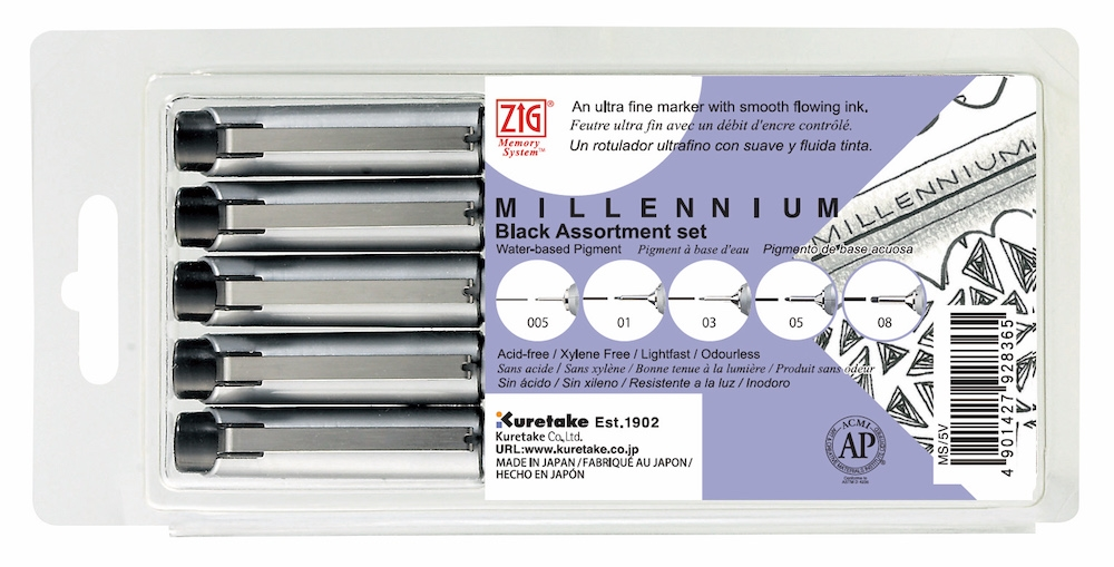 Zig PURE BLACK Millenium Assorted Point Pens MS5V zoom image