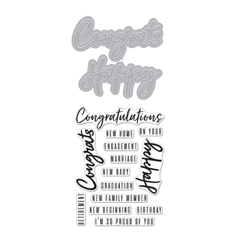 Hero Arts Stamp and Cuts CONGRATS HAPPY Set DC274
