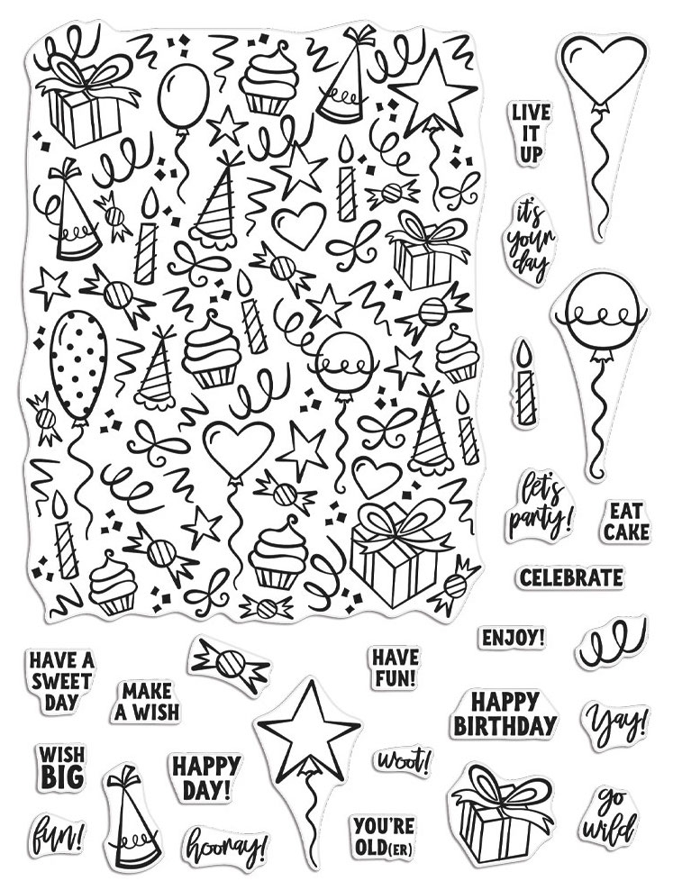 Hero Arts Clear Stamps WISH BIG PEEK A BOO PARTS CM418 zoom image