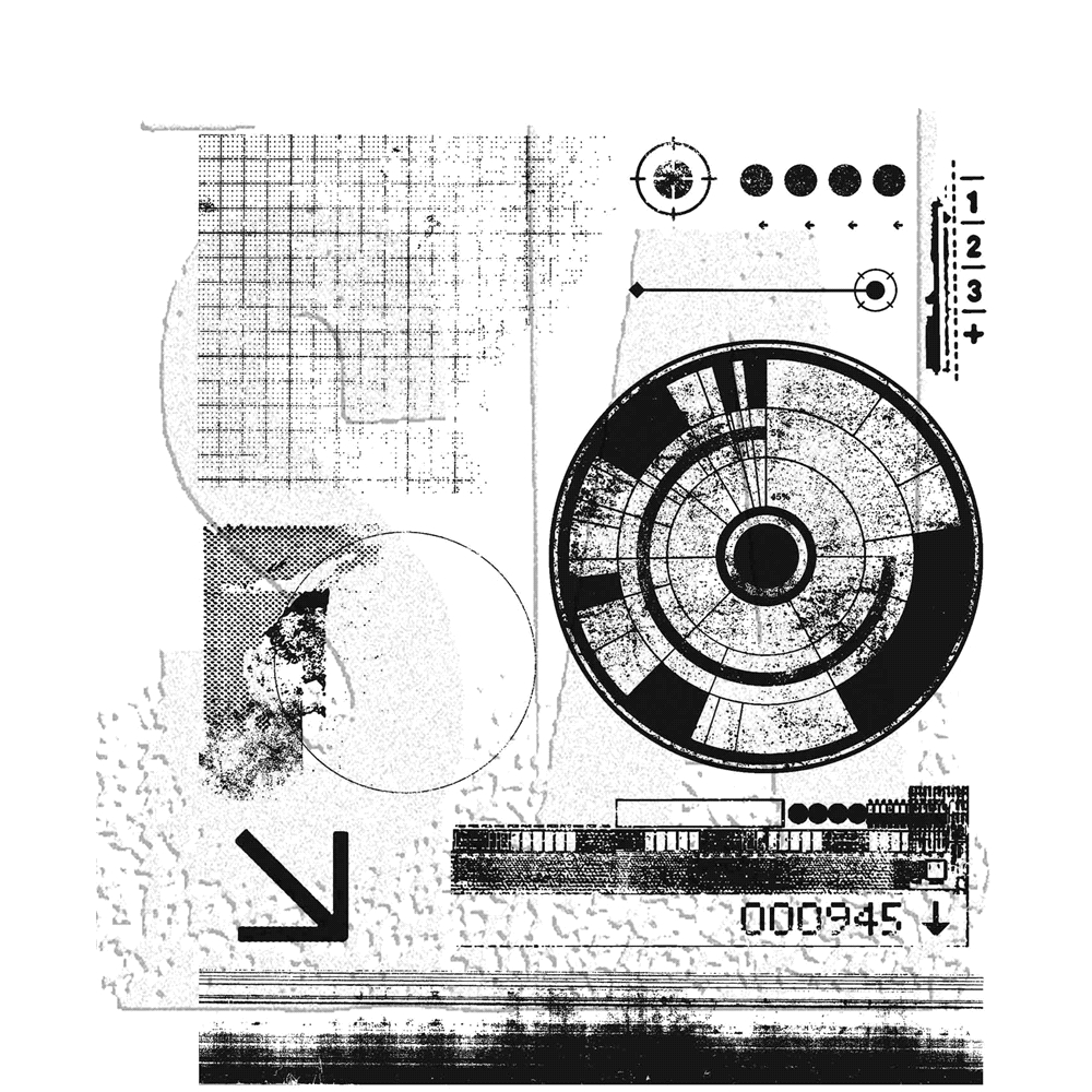 RESERVE Tim Holtz Cling Rubber Stamps 2020 GLITCH 1 CMS403 zoom image