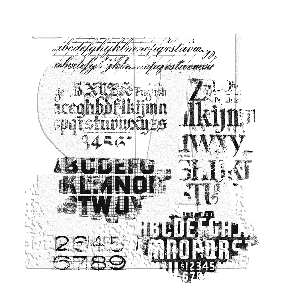 Tim Holtz Cling Rubber Stamps FADED TYPE CMS397 zoom image