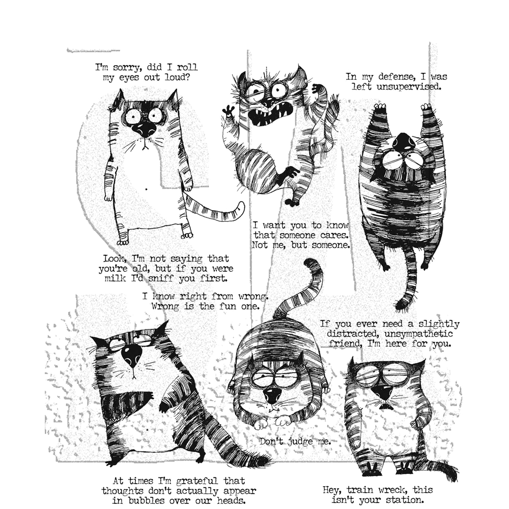 Tim Holtz Cling Rubber Stamps SNARKY CAT CMS392 zoom image