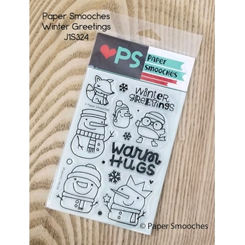 Paper Smooches WINTER GREETINGS Clear Stamps J1S324