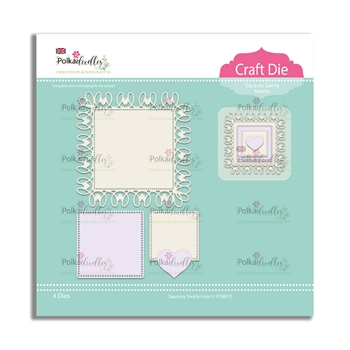 Polkadoodles SQUAREY SWIRLY HEARTS Craft Dies pd8015