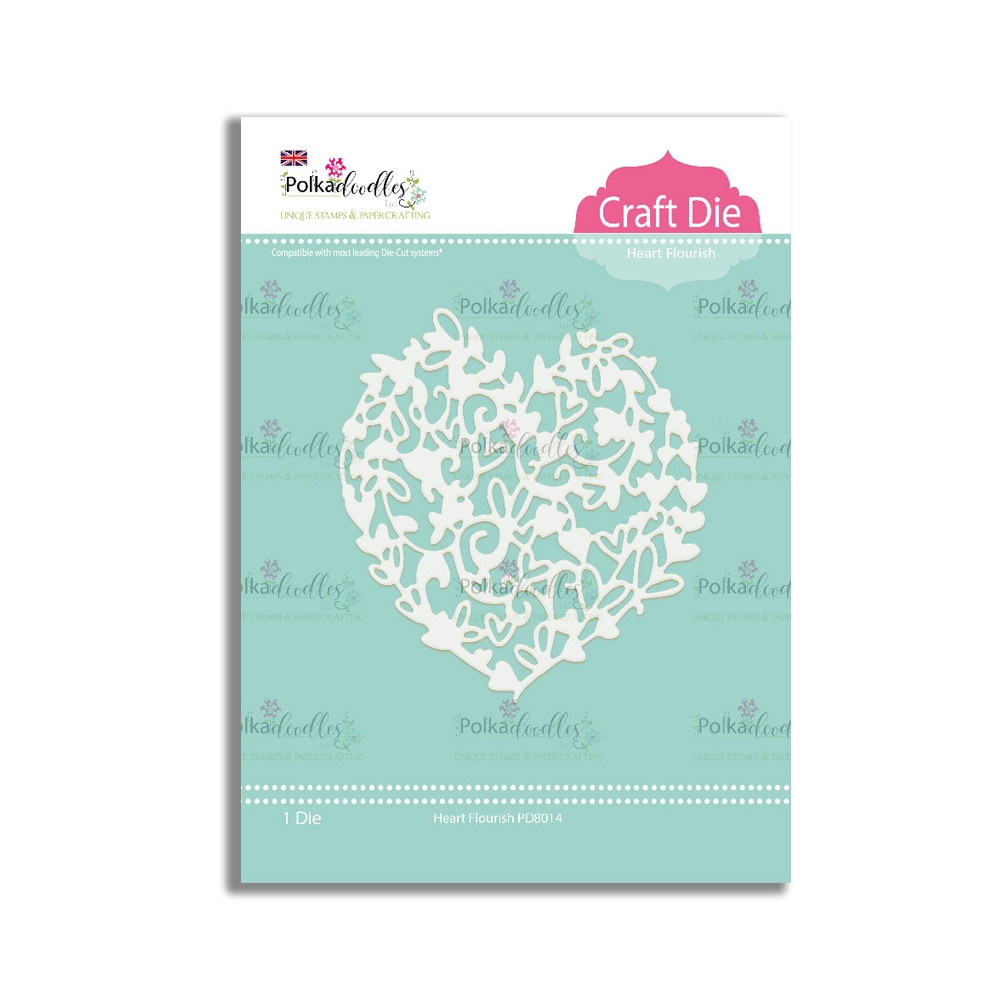 Polkadoodles HEART FLOURISH Craft Dies pd8014 zoom image