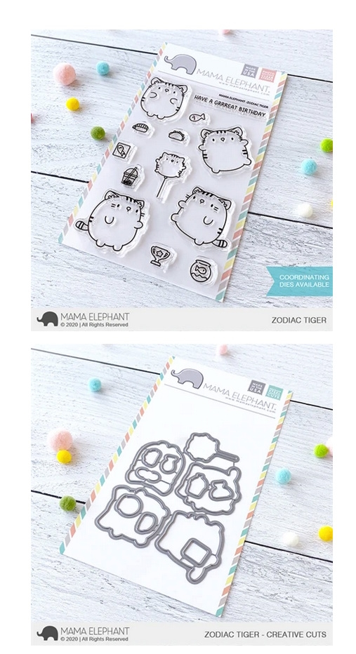 Mama Elephant Clear Stamp and Die MEPT730 Zodiac Tiger SET zoom image