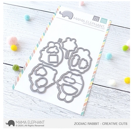Mama Elephant ZODIAC RABBIT Creative Cuts Steel Dies Preview Image