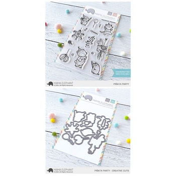 Mama Elephant Clear Stamp and Die MEPT736 Pinata Party SET
