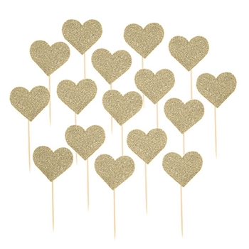 Darice GLITTER GOLD HEART PICKS 30030467