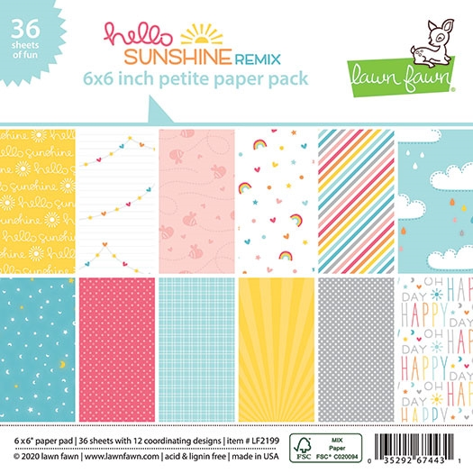 Lawn Fawn HELLO SUNSHINE REMIX 6x6 Inch Petite Paper Pack lf2199 zoom image