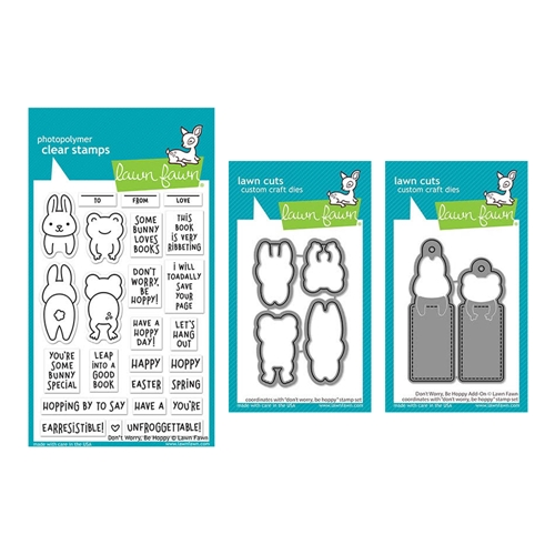 Lawn Fawn SET DON'T WORRY BE HOPPY Clear Stamps and Dies elfdwbh Preview Image