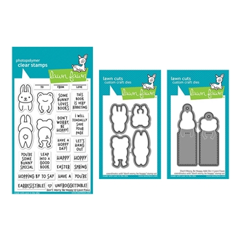 Lawn Fawn SET DON'T WORRY BE HOPPY Clear Stamps and Dies elfdwbh