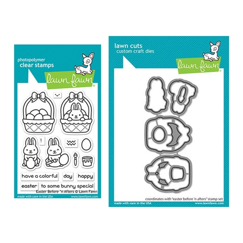 Lawn Fawn SET EASTER BEFORE 'N AFTERS Clear Stamps and Dies elfeba Preview Image
