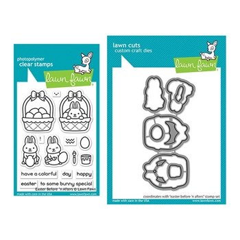 Lawn Fawn SET EASTER BEFORE 'N AFTERS Clear Stamps and Dies elfeba