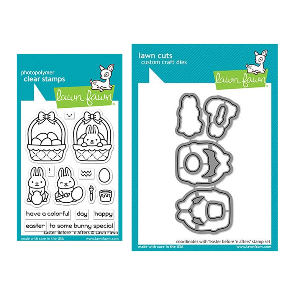 Lawn Fawn SET EASTER BEFORE 'N AFTERS Clear Stamps and Dies elfeba zoom image