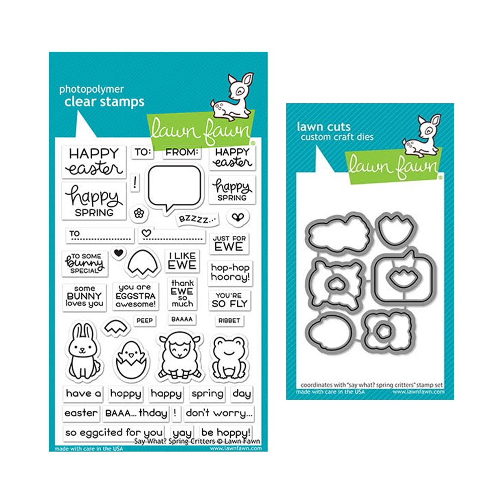 Lawn Fawn SET SAY WHAT SPRING CRITTERS Clear Stamps and Dies elfswsc zoom image