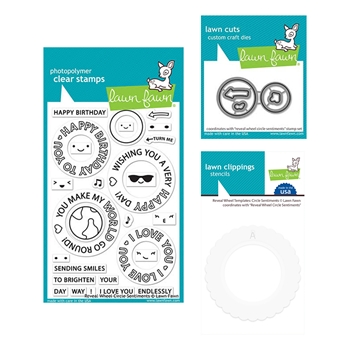 Lawn Fawn SET REVEAL WHEEL CIRCLE SENTIMENTS Clear Stamps Dies and Templates elfrwcs