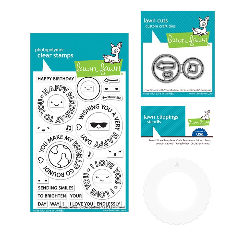 Lawn Fawn SET REVEAL WHEEL CIRCLE SENTIMENTS Clear Stamps Dies and Templates elfrwcs zoom image