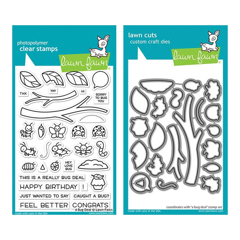 Lawn Fawn SET A BUG DEAL Clear Stamps and Dies elfabd zoom image