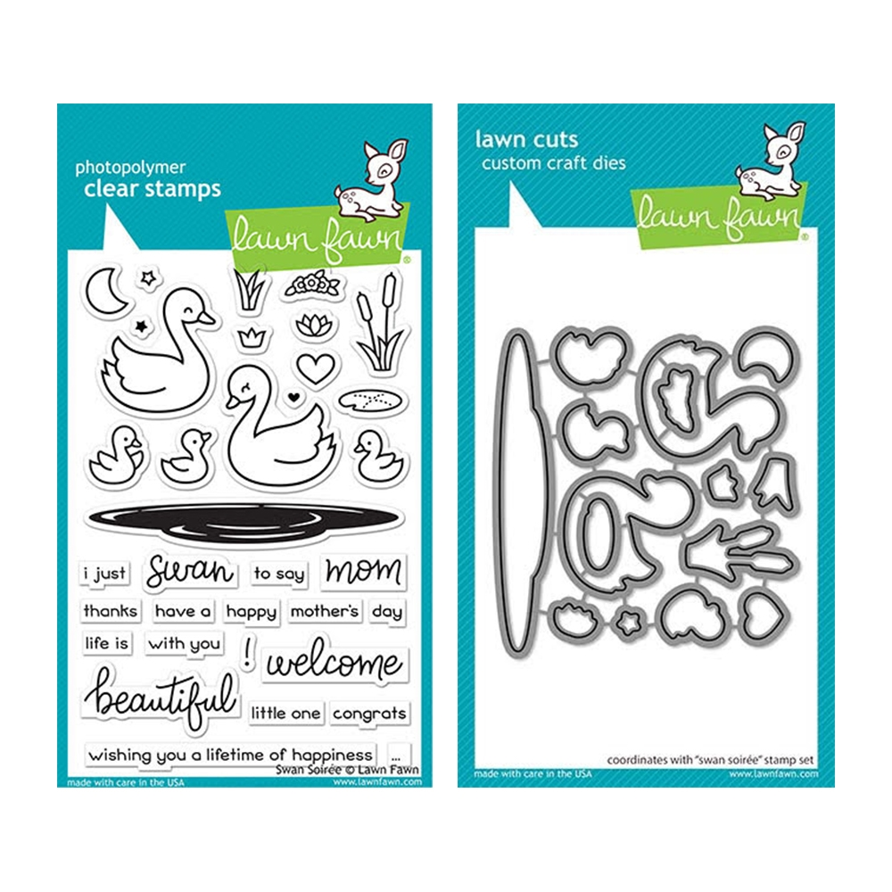 Lawn Fawn SET SWAN SOIREE Clear Stamps and Dies elfsws zoom image