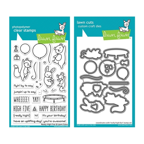 Lawn Fawn SET REALLY HIGH FIVE Clear Stamps and Dies elfrhf Preview Image