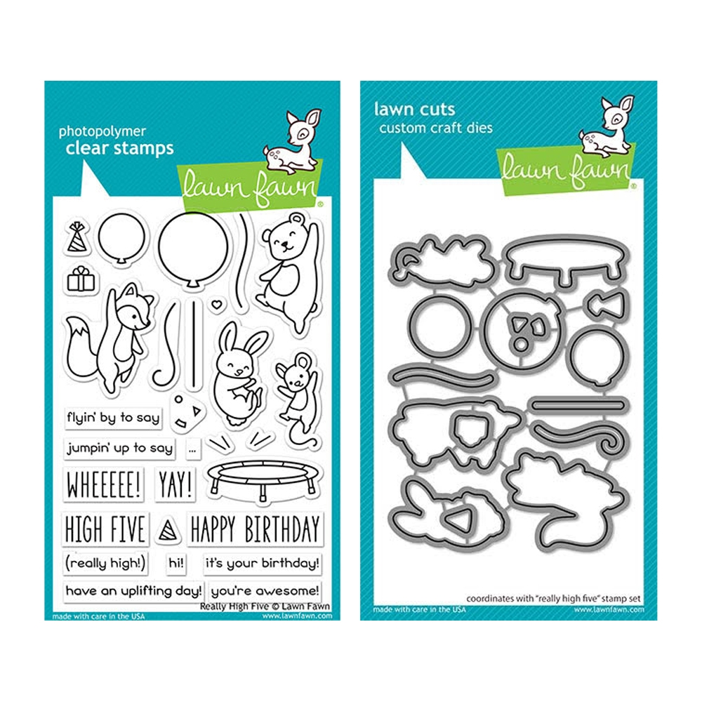 Lawn Fawn SET REALLY HIGH FIVE Clear Stamps and Dies elfrhf zoom image
