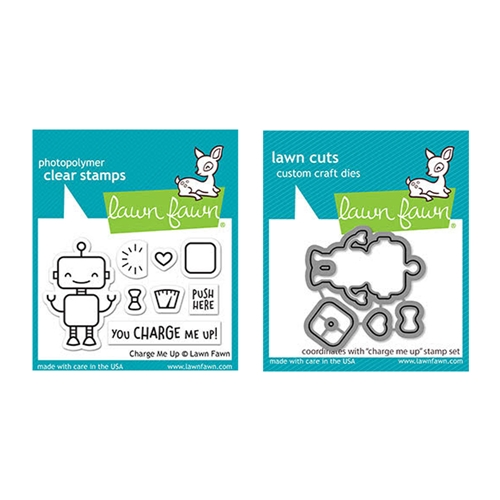 Lawn Fawn SET CHARGE ME UP Clear Stamps and Dies elfcmu Preview Image