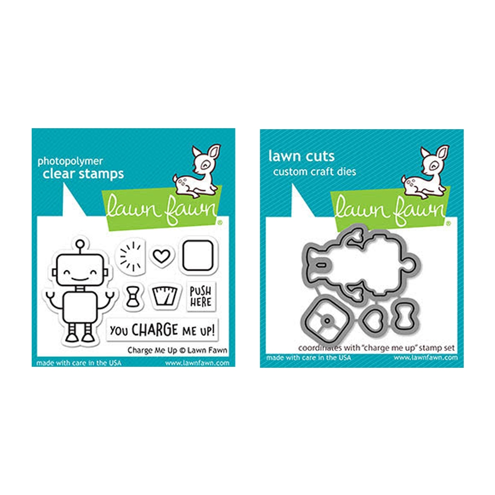Lawn Fawn SET CHARGE ME UP Clear Stamps and Dies elfcmu zoom image