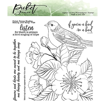 Picket Fence Studios BEAUTY AND SONG Clear Stamps f124