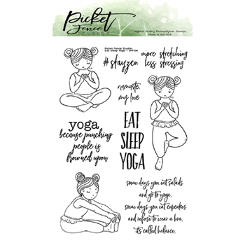 Picket Fence Studios EAT SLEEP YOGA Clear Stamps bff108