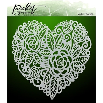 Picket Fence Studios FLOWERS IN A HEART Stencil sc151