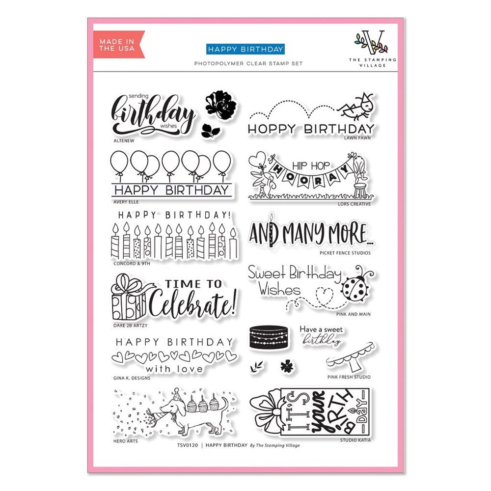 HAPPY BIRTHDAY Clear Stamps By The Stamping Village TSV0120 zoom image