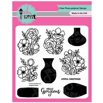 Pink and Main GORGEOUS VASES Clear Stamps PM0380