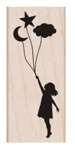 Hero Arts Rubber Stamp GIRL LOOKING TO THE STARS D6395