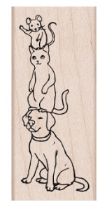 Hero Arts Rubber Stamp DOG CAT MOUSE D6392