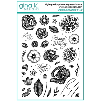Gina K Designs EMBROIDERED FLOWERS Clear Stamps 0237