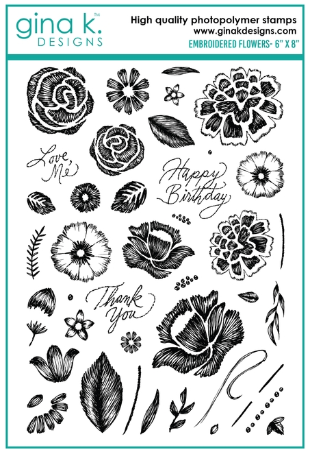 Gina K Designs EMBROIDERED FLOWERS Clear Stamps 0237 zoom image