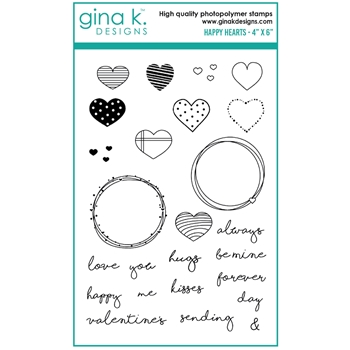 Gina K Designs HAPPY HEARTS Clear Stamps 0213